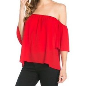 Tops - Red off the shoulder blouse